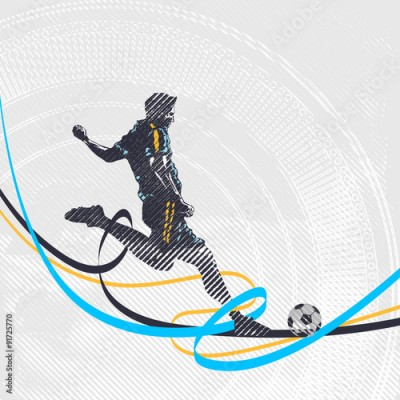 Fototapeta Stylized football player shoots the ball