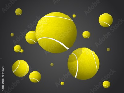 Obraz Moving Tennis Balls flying, falling isolated on dark background.