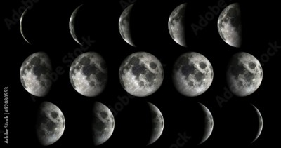 Fototapeta Phases of the moon from new to full. Elements of this image furnished by NASA