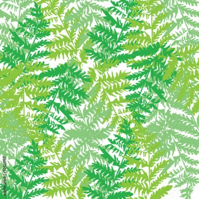 Fototapeta Illustration of pattern with green birch leaves.