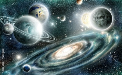 Fototapeta Solar system and spiral galaxy