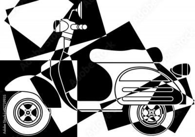 Obraz Scooter pop art en noir et en blanc