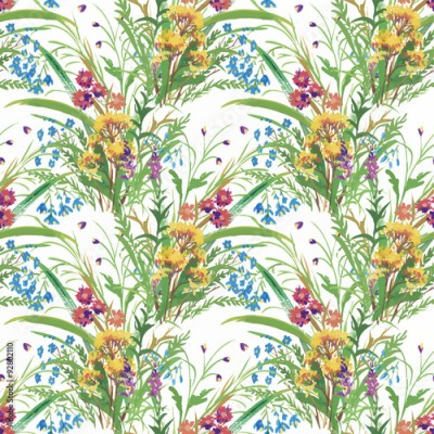 Fototapeta Seamless pattern with Beautiful flowers, Watercolor painting