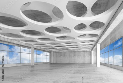 Plakat 3d interior with round holes on ceiling