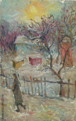 Plakat Beautiful Original Oil Painting Landscape On Canvas. Winter woman walking on the street near the house