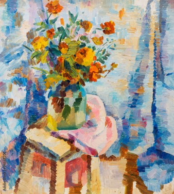 Plakat Beautiful Original Oil Painting lowers in a vase in bright orange colors of red and blue  On Canvas