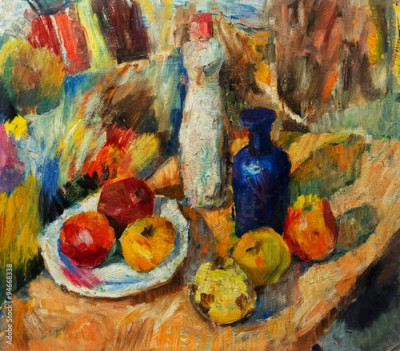 Plakat Beautiful Original Oil Painting  of Still Life vase apples bright colors Red Orange Green On Canvas