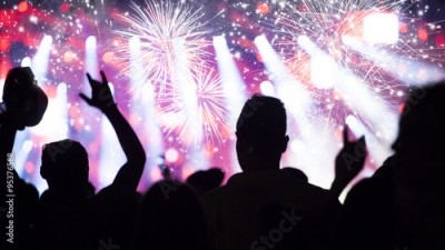 Fototapeta New Year concept - cheering crowd and fireworks