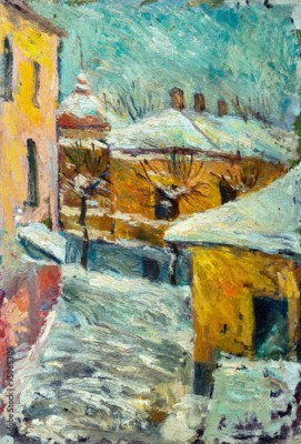 Obraz na płótnie Beautiful bright colors  winter Original Oil Painting of street  On Canvas