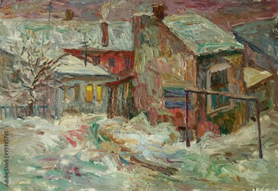 Plakat Beautiful bright colors  winter Original Oil Painting of street  On Canvas
