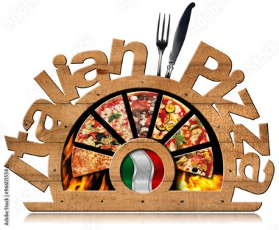 Fototapeta Wooden Symbol of Italian Pizza with Flames / Wooden symbol with pizza slices, flames, text Italian Pizza, silver cutlery and Italian flag. Isolated on white background
