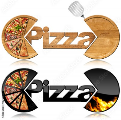 Fototapeta Pizza - Two Symbols with a Slices of Pizza / Two symbols with the slices of pizza, text Pizza, flames and spatula. Isolated on white background