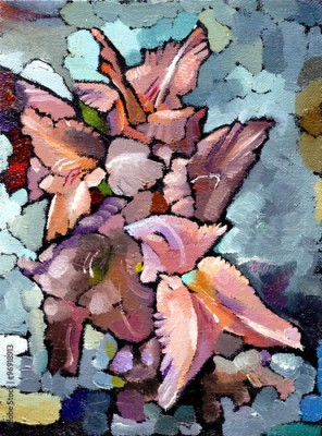 Plakat Oil painting still life with  pink  irises flowers On  Canvas with  texture in in the grayscale