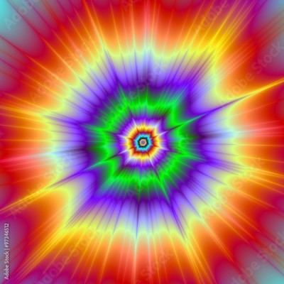 Fototapeta Tie Dye Explosion / A digital abstract fractal image with a colorful psychedelic explosion design in red, green, violet and yellow.