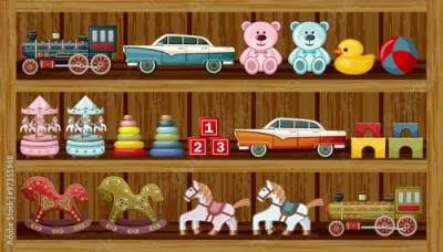Obraz Vintage toys on the shelf. Vector