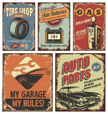 Fototapeta Vintage car service tin signs and posters