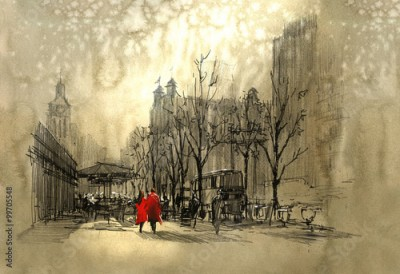 Plakat couple in red walking on street of city,freehand sketch