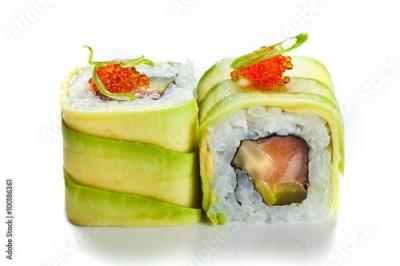 Obraz na płótnie Sushi rolls with avocado and salmon isolated on white