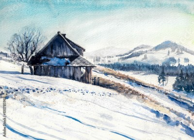 Obraz na płótnie Winter landscape with small house in mountains watercolor painted.