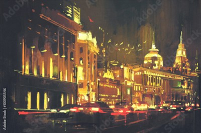 Fototapeta painting of city street with colorful light,Shanghai The Bund at night