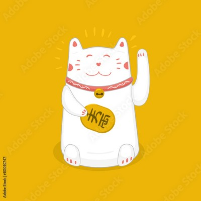 Fototapeta Untitled-1Traditional Japanese symbol. Lucky cat with a golden coin.