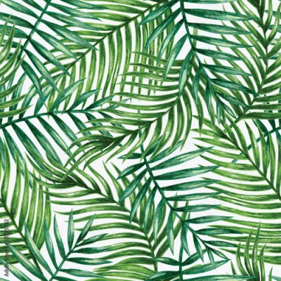 Fototapeta Watercolor tropical palm leaves seamless pattern. Vector illustration.