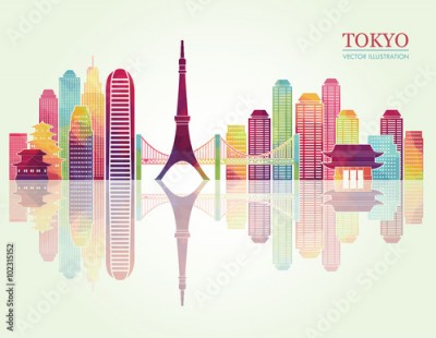 Fototapeta Tokyo detailed skylines. vector illustration