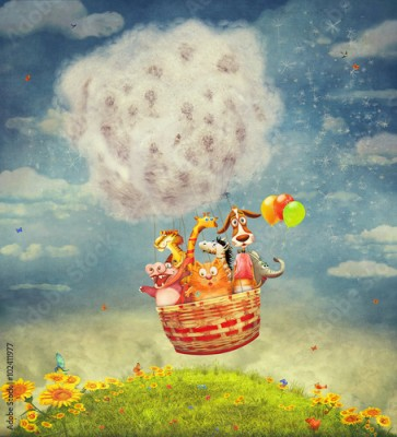 Plakat Happy animals in the   air balloon in the sky - illustration art