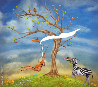 Obraz The illustration shows romantic relations between a giraffe and zebra