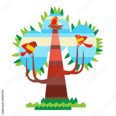 Fototapeta Colorful Tree With Birds Flat Design