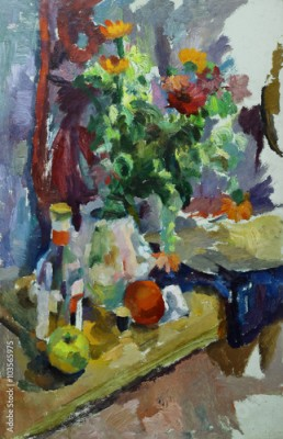 Plakat Oil painting still life with  on the table flowers in a vase, a bottle of alcohol, apples, thread On Canvas