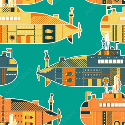 Naklejka Seamless pattern with submarine. Retro colorful hand drawn vector illustration in line art style