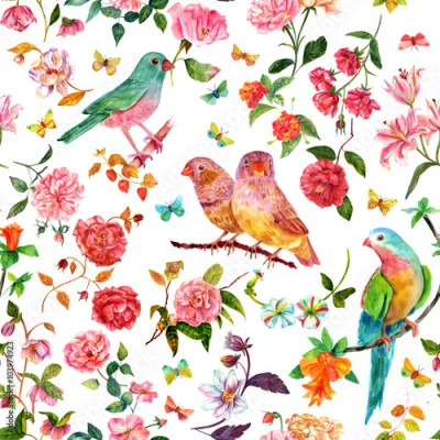Obraz na Szkle Seamless pattern with vintage style watercolor flowers , birds and butterflies
