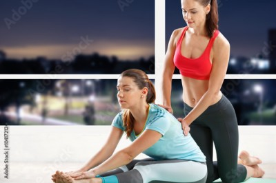 Fototapeta Woman workout with trainer