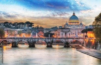 Obraz Tiber and St Peter Basilica in Vatican with rainbow, Rome