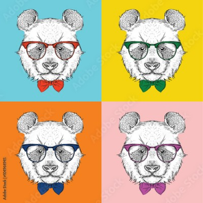 Plakat Illustration of panda hipster dressed up in jacket, pants and sweater. Vector illustration