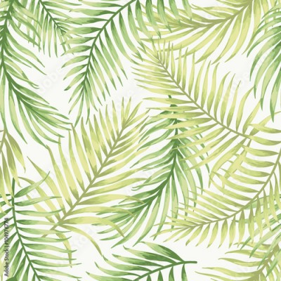 Fototapeta Seamless exotic pattern with tropical leaves.