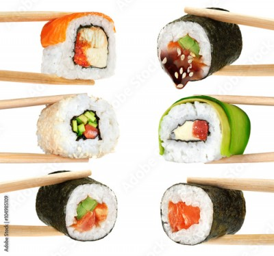 Obraz na płótnie Sushi rolls isolated on white background. Chopsticks.