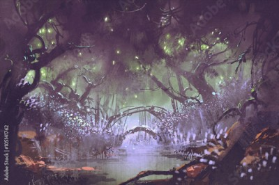 Plakat enchanted forest,fantasy landscape painting