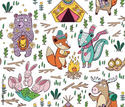 Naklejka Hand drawn camping seamless pattern with cartoon characters
