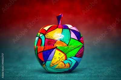 Plakat contemporary art, modern art. colorful wooden Apple. decorative fruit. Apple painted colors manually, handmade craft