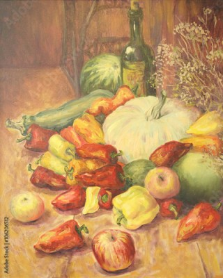 Obraz Still life with vegetables and fruit. Apple, pepper, wine, watermelon, zucchini. Oil painting