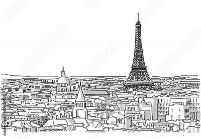 Fototapeta About the Roofs of Paris Handmade Drawing with the Eiffel Tower in background