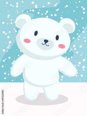 Obraz A little polar bear cartoon standing in snow day.