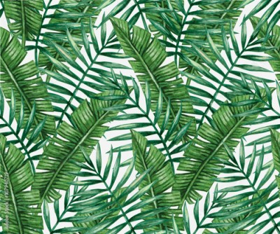 Obraz Watercolor tropical palm leaves seamless pattern. Vector illustration.