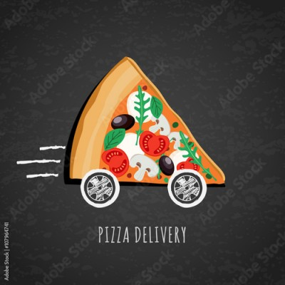 Fototapeta Vector design for pizza delivery, italian restaurant menu, cafe, pizzeria. Pizza with wheels on black chalkboard background. Slice of pizza with tomato, olives, mushrooms. Fast food delivery symbol.