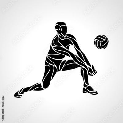 Obraz na płótnie Volleyball player silhouette