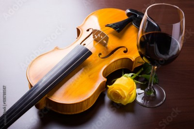 Obraz Violin, flower and red wine