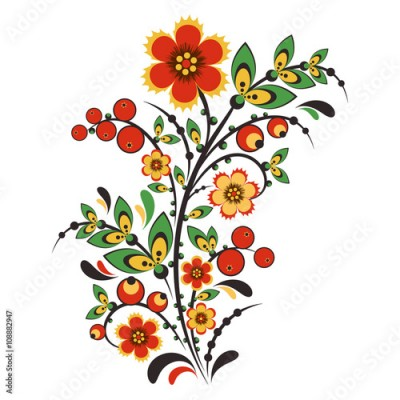 Fototapeta Floral ornament in Hohloma style. Russian folklore