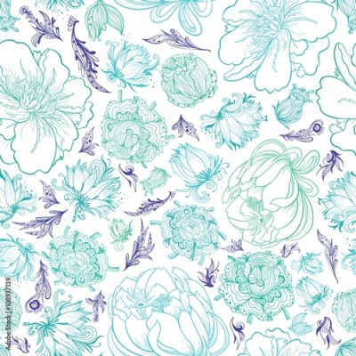 Fototapeta Turquoise Vector Sketch Floral Pattern